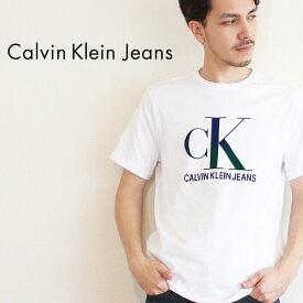 【SALE 限定クーポン配布!】【メール便可】カルバンクラインジーンズ Tシャツ CALVIN KLEIN JEANS 半袖 ホワイト リフレクション S/S ティー 41T0137 メンズ CK ブランド カジュアル シンプル ウェア トップス アパレル ロゴ プリント コットン 綿 定番 人気 白 sale1