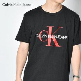 【メール便可】 カルバンクラインジーンズ Tシャツ メンズ CALVIN KLEIN JEANS モノグラム ロゴ スリム TEE トップス 半袖 無地 スポーツ おしゃれ スポーティ ブランド ウェア CK プレゼント ギフト ブラック 黒 レッド 赤 J30J314551