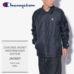 CHAMPION チャンピオン ジャケット ネイビー コーチ ジャケット ウエストブレーカー エディション COACHES JACKET V0100 メンズ ロゴ 刺繍 ワッペン トップス ウェア シンプル カジュアル 軽アウター