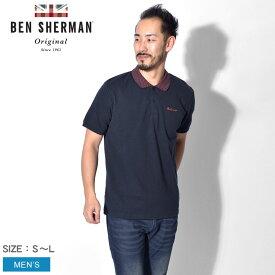 【メール便可】【BEN SHERMAN】 ベンシャーマン ネイビー チェッカーボード カラー ポロシャツ メンズ CHECKERBOARD COLLAR POLO SHIRT BC19S54446 036 イギリス ブランド おしゃれ 紳士服 シンプル トップス 襟付き ネイビー 紺 刺繍