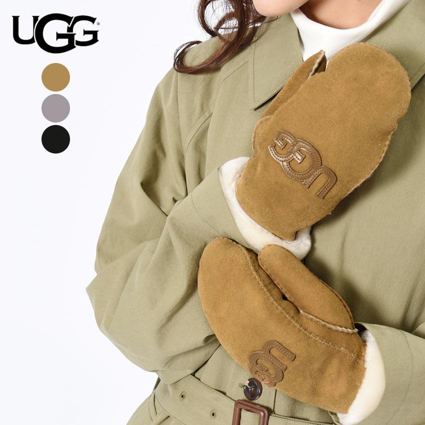 【メール便可】 送料無料 【アグ】 UGG ミトン 手袋 レディース グローブロゴ ミトン LOGO MITTEN 17370