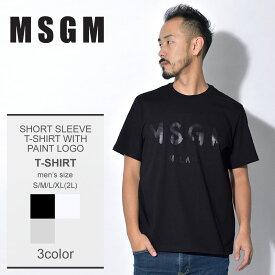 【メール便可】 【MSGM】 エムエスジーエム Tシャツ 半袖 メンズ ストリート ブランド カジュアル ショートスリーブ ウィズ ペイント ロゴ SHORT SLEEVE T-SHIRT WITH PAINT LOGO ペイント