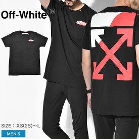 【限定クーポン配布!】オフホワイト Tシャツ OFF-WHITE 半袖 メンズ OMAA027S1918 スプリット ロゴ スリム Tシャツ バックプリント グラフィック ブラック ブランド カジュアル ストリート トップス 夏 服 おしゃれ 個性 黒 赤 アロー デザイン 7mt