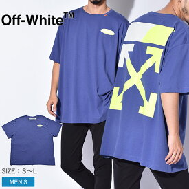 【OFF-WHITE】 オフホワイト Tシャツ 半袖 スプリット ロゴ SPLIT LOGO S/S OVER TEE OMAA038S1918 メンズ ビックシルエット ゆったり ブランド 高級 カジュアル ストリート トップス 夏 服 おしゃれ デザイン 個性 青 バックプリント