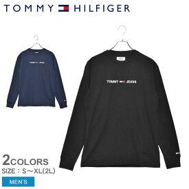 《限定クーポン配布 1/28 9:59迄》トミーヒルフィガー Tシャツ TOMMY HILFIGER 長袖Tシャツ エンブロイドロゴロングTシャツ メンズ トップス アパレル カジュアル ウェア シンプル カットソー トレーナー ロゴ 部屋着 普段着 刺繍 紺 TOMMY JEANS 黒