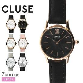 CLUSE クルース 腕時計 レディース ラ ヴェデット 24 レザーベルト LA VEDETTE 24 LEATHER 細ベルト 華奢 かわいい おしゃれ きれいめ 上品 小さめ 黒 ベージュ ピンク ゴールド CL50011 CL50012 CL50009 CL50010 CL50008 CL50013 CL50014