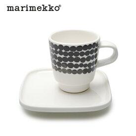 マリメッコ MARIMEKKO コーヒーカップ シイルトラプータルハ エスプレッソ カップ & ソーサー ホワイト×ブラック 65322 190 コップ カップ コーヒーソーサー 碗皿 キッチン 食器 雑貨 陶器 ギフト 白 黒 プレゼント 贈り ギフト