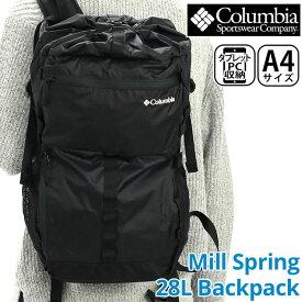 《スーパーSALE》 Columbia コロンビア リュック 正規品 メンズ リュックサック デイパック バッグ カバン ビジネス 通勤 通学 アウトドア カジュアル シンプル 仕事用 ブラック 黒 旅行 収納力 黒バッグ A4 Mill Spring 28L Backpack ミルスプリング バックパック PU8395