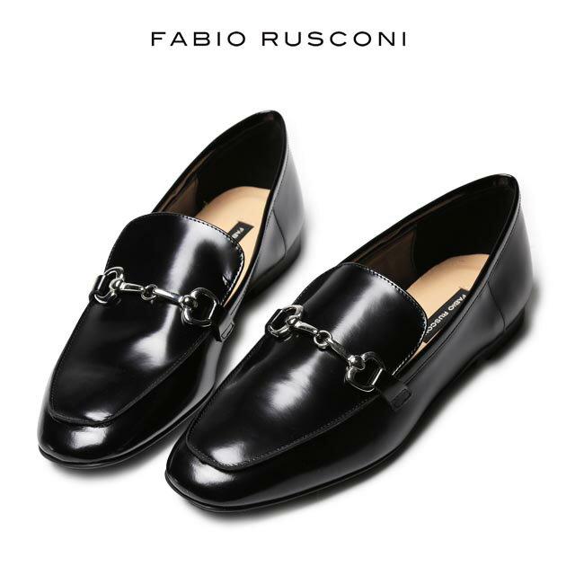 ファビオルスコーニ ローファー 金具付き レディース ホースビット オジ靴 イタリア製 FABIO RUSCONI ファビオ ルスコーニ フラット 靴 革靴 パンプス 【送料無料】 小さいサイズ 大きいサイズ【あす楽対応】