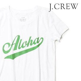 J.CREW Tシャツ クルーネック 半袖 レディース プリント Aloha ロゴ ジェークルー Jクルー ジェイクルー JCREW