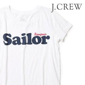 J.CREW Tシャツ クルーネック 半袖 レディース プリント Sailor ロゴ ジェークルー Jクルー ジェイクルー JCREW