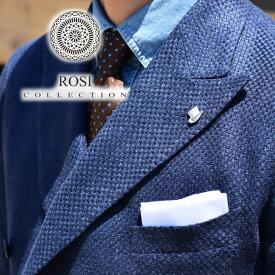 【20%OFFクーポン】ROSI ポケットチーフ リネン 春夏 白 ホワイト イタリア製 ロージ チーフ ハンカチ メンズ ROSI&GHEZZI 【レ15】