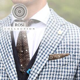 ROSI ポケットチーフ リネン カーキ 春夏 イタリア製 花デザイン ロージ チーフ ハンカチ メンズ ROSI&GHEZZI