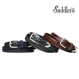 サドラーズ メッシュ ベルト 2.5cm 3cm カーフ シンプル バックル G294 プンターレ Saddler's メンズ ブラック ブラウン 【あす楽対応】