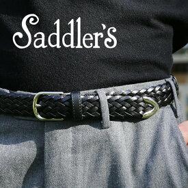 サドラーズ メッシュ ベルト 2.5cm 3cm 3.5cm 本革 カーフレザー シンプル バックル G294 プンターレ イントレチャート Saddler's メンズ ブラック ブラウン ネイビー 【レ15】【あす楽対応】
