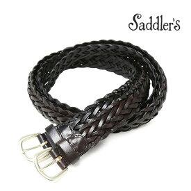 サドラーズ メッシュ ベルト 3.5cm 手編み ハンドメイド カーフ シンプル バックル G256 Saddler's メンズ ブラック ブラウン 【送料無料】 【あす楽対応】