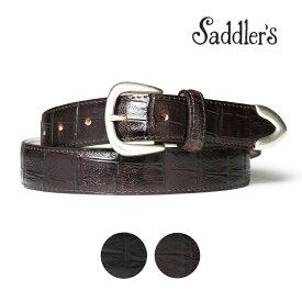 サドラーズ クロコ調型押し レザー ベルト 3cm カーフ シンプル バックル G355 プンターレ Saddler's メンズ ブラック ブラウン 【あす楽対応】