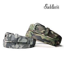【全品10%offクーポン】サドラーズ スエード ベルト カモプリント 3cm カーフ シンプル バックル Saddler's メンズ 【あす楽対応】