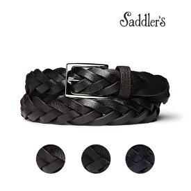 サドラーズ メッシュ ベルト 3cm 手編み ハンドメイド カーフ シンプル 角バックル G383 Saddler's メンズ ブラック ブラウン 【送料無料】 【あす楽対応】