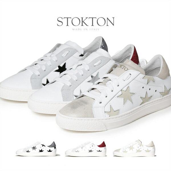 STOKTON ストックトン 星柄 メタリック スニーカー レディース 352-D シルバー ラメ ゴールド スター 【送料無料】