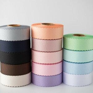 ハンドメイド 手芸 材料 リボンテープ ロール売り スカラップグログランリボン 幅35mm 全長約22m