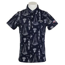 【クーポンあり!】キャロウェイ(CALLAWAY) ゴルフウェア メンズ ヨット柄鹿ノ子ボタンダウン半袖カラーシャツ 241-9157523-120 (Men's)