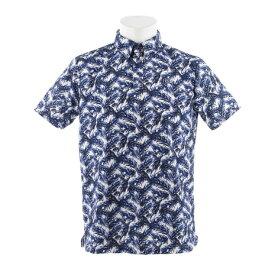 【クーポンあり!】フィドラ(FIDRA) 【オンライン特価】ウェア メンズ リーフ柄 半袖ポロシャツ ボタンダウンシャツ FDA0328-NVY (Men's)