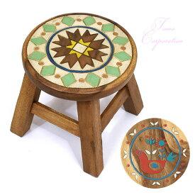 トモコーポレーション ラウンド スツール マラケシュ ヒュッゲ 2207-1818 ウッド チェアー ナチュラル オシャレ 北欧 かわいい ヒュッゲ 椅子
