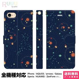 全機種対応 スマホケース 手帳型 iPhone 12 11 SE XR XS 8 Pro Max mini Xperia AQUOS Galaxy ケース カバー イラスト 宇宙柄 星座 プラネタリウム 天体 星空 おもしろ おもしろい おしゃれ かわいい ユニーク 個性的 宇宙 幾何学模様 夜空 星 地球 プラネット