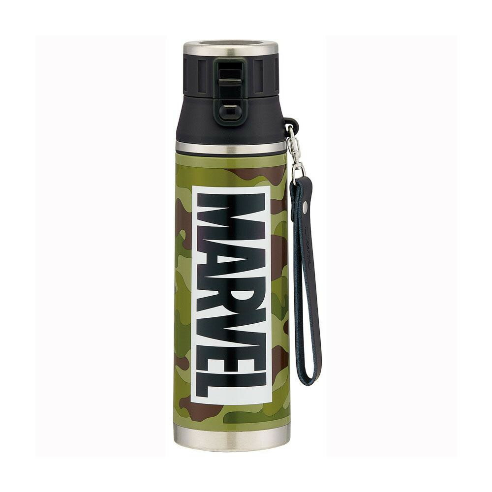 pos.431890 MARVEL LOGO 超軽量・ロック式 ワンプッシュダイレクトボトル MARVEL ロゴ 迷彩 SDMC8