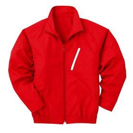 空調服 ポリエステル製長袖ブルゾン P-500BN 【カラー:レッド(赤) サイズ:LL】 電池ボックスセット 送料無料!