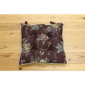 クッション 椅子用 シート エレガンス 花柄 ブラウン 約43×43cm 2枚組 座布団 送料込!