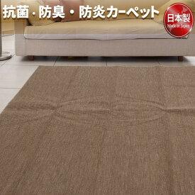 フリーカットができる 抗菌 防臭 防炎カーペット 絨毯 / 江戸間 2畳 176×176cm ブラウン / 洗える 日本製 『ウェルバ』 九装 送料込!