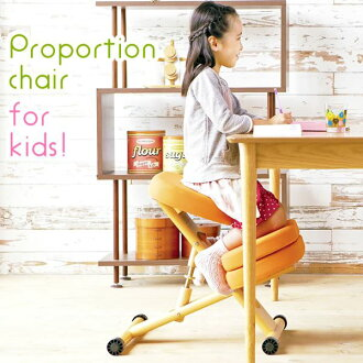 Cushioned proportion Chair (posture correction Chair) wood (natural wood) sitting surface height adjustment / trundle lime!