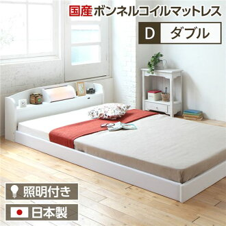 """It includes the bed frame postage made in domestic floor bed double (with the SG mark domestic production Bonn flannel coil mattress) white """"illume"""" with the shrine with the lighting イリューム Japan!"""