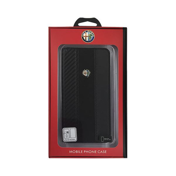 Alfa Romeo 公式ライセンス品 High Quality Carbon Synthettic Leather book case w/card holder Black iPhone6 PLUS用 AR-SSHFCIP6P-4C/D5-BK 送料込!