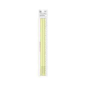 (まとめ) 共栄プラスチック ヘイコウのものさし 33cm イエロー 【×10セット】 送料込!