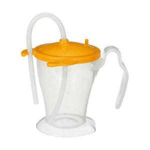 (まとめ)オオサキメディカル プラスハートベッド柵にも掛けられる ストローカップ オレンジ 250ml 1個【×10セット】 送料込!