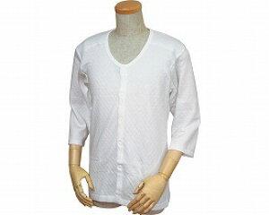 紳士用 キルト八分袖前開きシャツ(ワンタッチテープ式) W460 / M 白