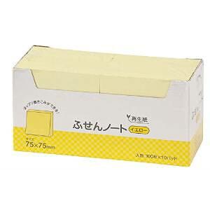 ふせん ノート 75×75mm イエロー 100枚 10冊入(P7575YE)