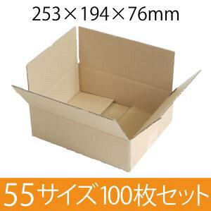 梱包用段ボール 55サイズ (253×194×76mm) 厚さ3mm 【100枚セット】 クラフト色 引越用ダンボール 無地 収納 激安