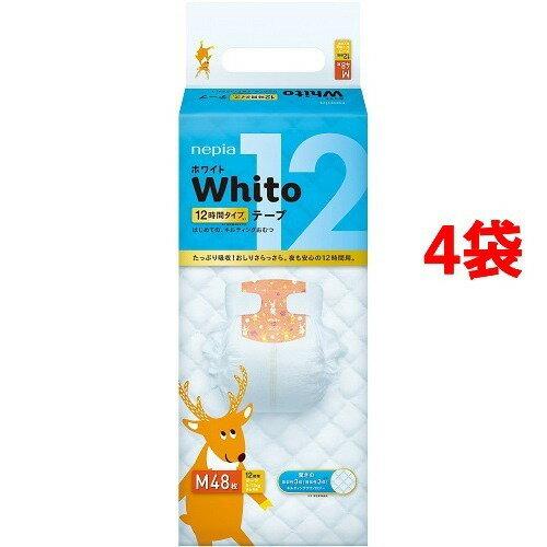 ネピア ホワイト テープ Mサイズ 12時間タイプ 48枚入*4コセット 【ネピア Whito】【テープ式 Mサイズ】