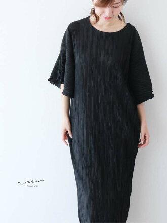 【再入荷8月11日20時より】(ブラック)「Vieo」柔らかな装いは華ワンピースゆったりレディースVieoヴィオきれいめシンプル大人上品