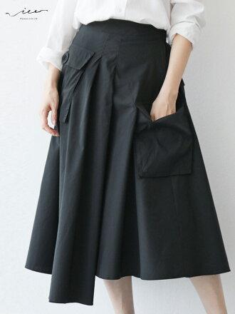 【再入荷♪♪10月12日20時より】「Vieo」デザイン性高める黒スカートゆったりレディースVieoヴィオきれいめシンプル大人上品