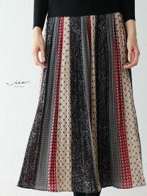 【再入荷9月7日20時より】「Vieo」配色彩るスカートゆったり レディース Vieo ヴィオ きれいめ シンプル 大人 上品 プリーツスカート