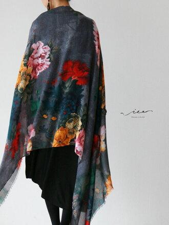 ▼▼(グレー)「Vieo」美しい花々のストール10月25日20時販売新作ゆったりレディースVieoヴィオきれいめシンプル大人上品