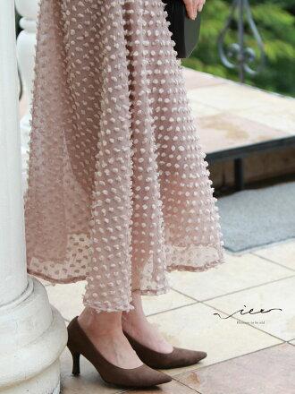 【再入荷♪♪8月13日20時より】(ベージュ)「Vieo」愛され上品ふわりスカート