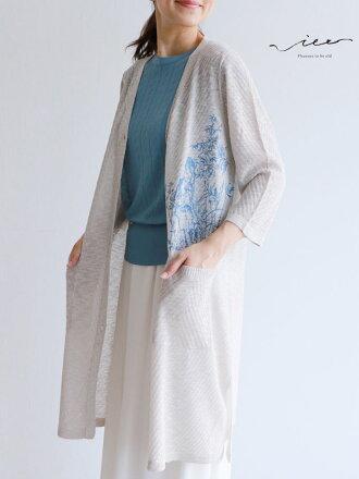 【再入荷♪♪8月11日20時より】「Vieo」儚げな刺繍の羽織り