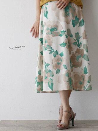 【再入荷♪♪8月13日20時より】(グリーン)「Vieo」洗練された大人の花柄スカートゆったりレディースVieoヴィオきれいめシンプル大人上品