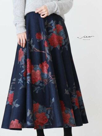 【再入荷10月12日20時より】(ネイビー)「Vieo」絢爛に咲き誇るスカートゆったりレディースVieoヴィオきれいめシンプル大人上品